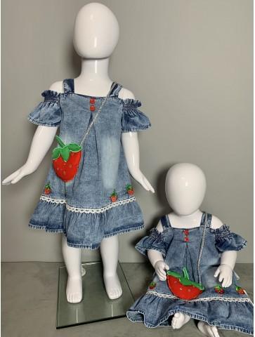Дънкова рокля с чантичка