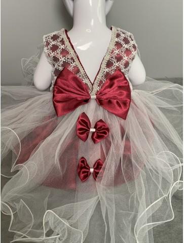 Червена рокля с панделки за...