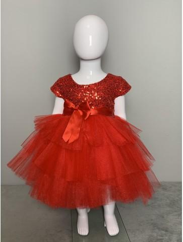 Червена обемна рокличка с тюл