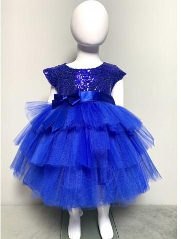 Синя обемна рокличка с тюл