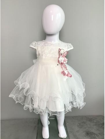 Нежна бяла рокличка с тюл,...