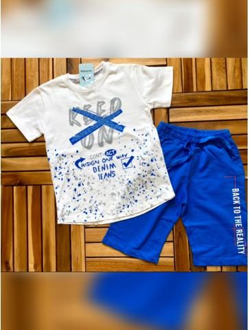 Летен комплект в синьо и бяло