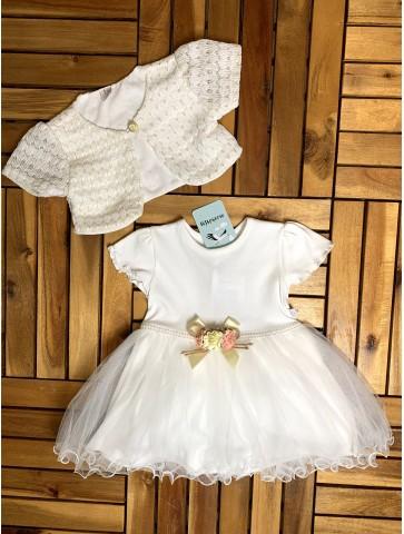 Бяла рокля със златисто болеро