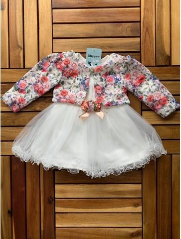 Бяла рокля с болеро на цветя
