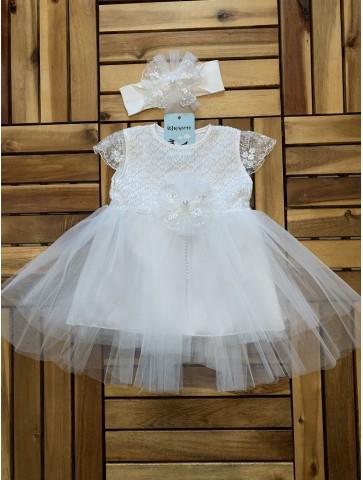 Бяла рокля с дантела за...