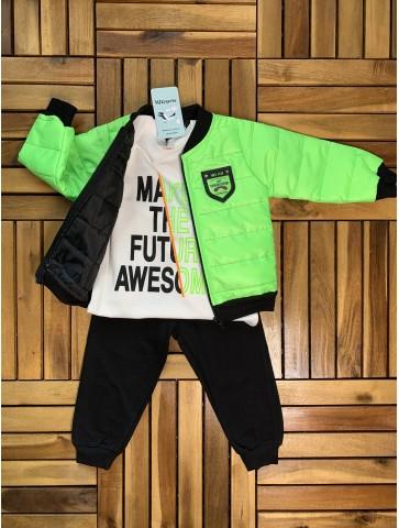 Комплект с яке в ярко зелено