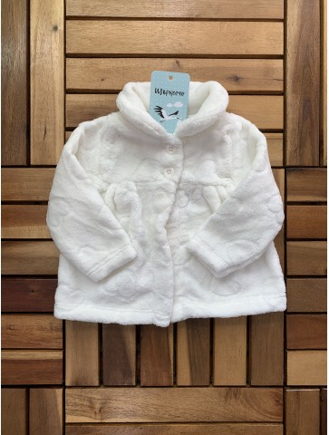 Бяло пухкаво палтенце