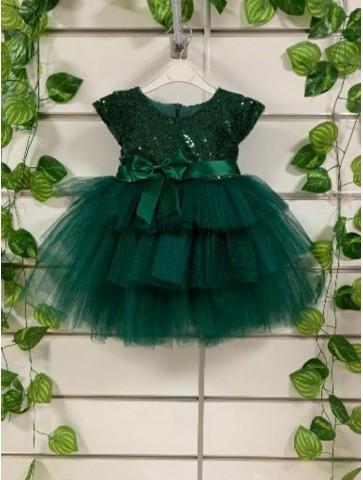 Зелена обемна рокличка с тюл